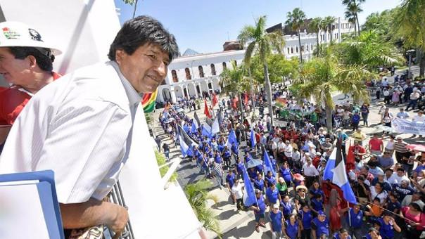 Evo Morales, presidente de Bolivia en una actividad oficial por el 1 de mayo.