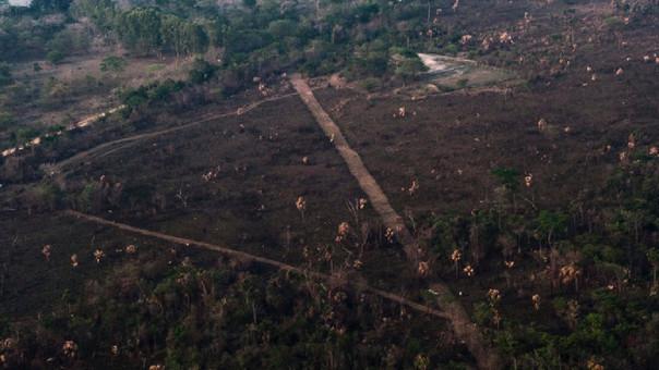 Vista aérea de la pista clandestina ubicada a la par del pozo Xan-30 de la empresa petrolera Perenco.