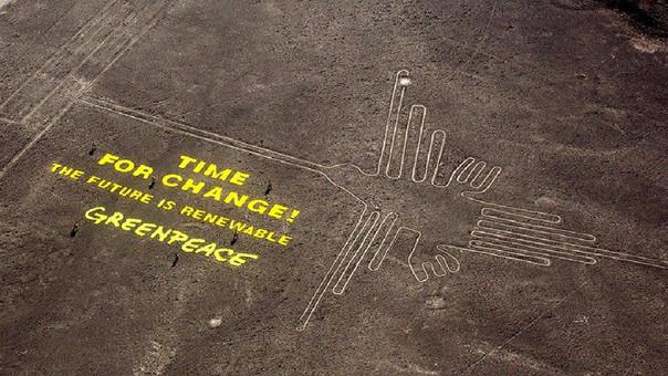 Mensaje ambientalista de Green Peace en Líneas de Nazca.