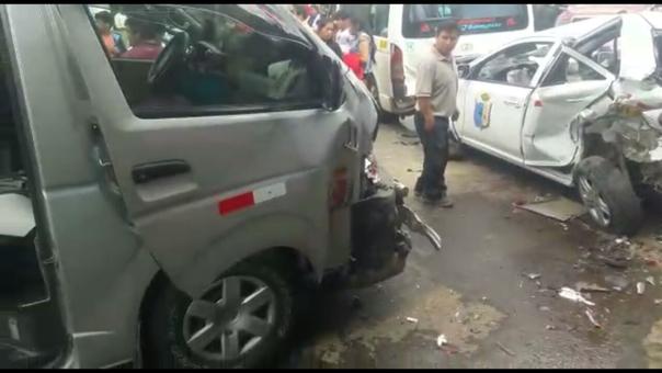 Policía investiga causas de choque múltiple en la vía Cajamarca - Baños del Inca