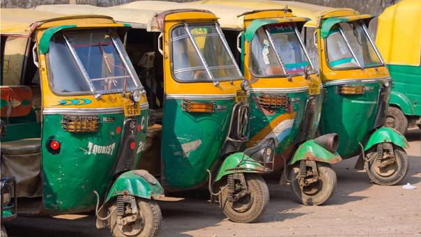 Las mototaxis o rickshaws son uno de los métodos más comunes de transporte en la India.