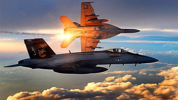 Un avión Boeing F/A-18 Super Hornet de los Estados Unidos.