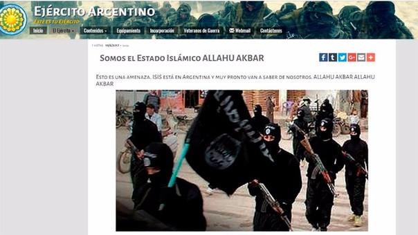 Así lucía la portada de la página del Ejército de Argentina.