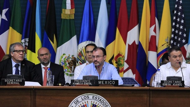 El canciller mexicano, Luis Videgaray, es uno de los principales críticos del gobierno de Venezuela en la OEA. Su país fue al anfitrión de la asamblea.