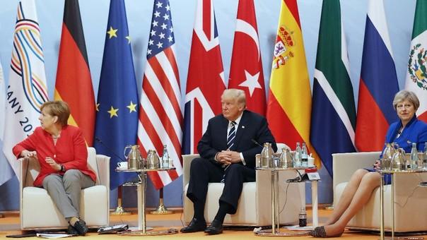 Angela Merkel, Donald Trump y Theresa May, líderes de Alemania, Estados Undos y el Reino Unido, tres de los protagonistas de la reunión.