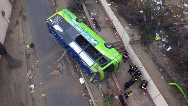 Vista aérea del accidente en el Cerro San Cristobal.