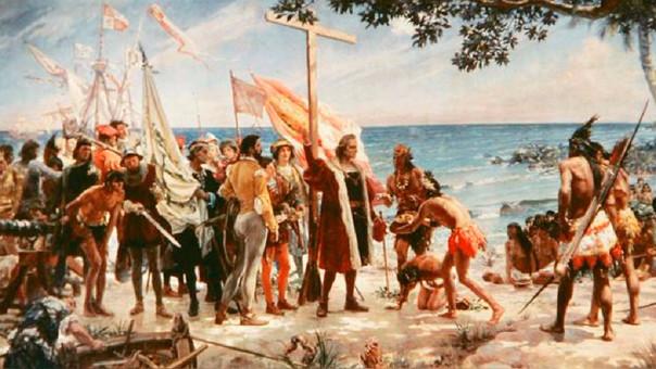 La llegada de Cristóbal Colón a América en una pintura.