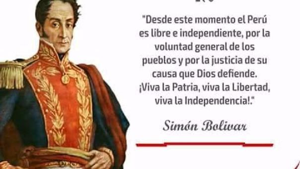 La cita le corresponde a José de San Martín. Fue declamada el 28 de julio de 1821.