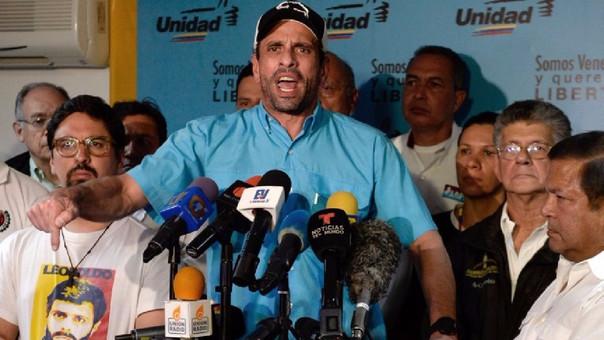 Henrique Capriles pidió al régimen de Nicolás Maduro que