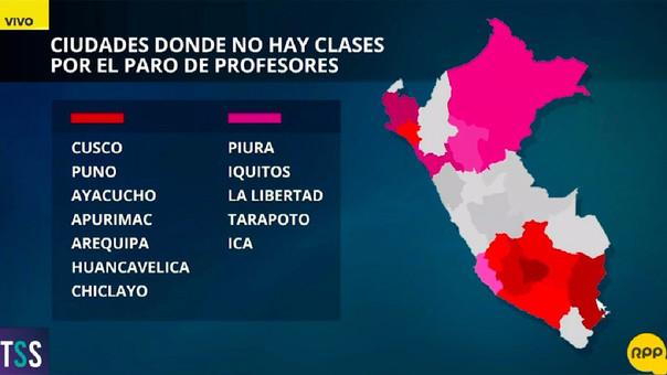 Según el Minedu, en las regiones pintadas de rojo la huelga es acatada por el 50% de los docentes, y en las de color fucsia es acatada por el 30%.