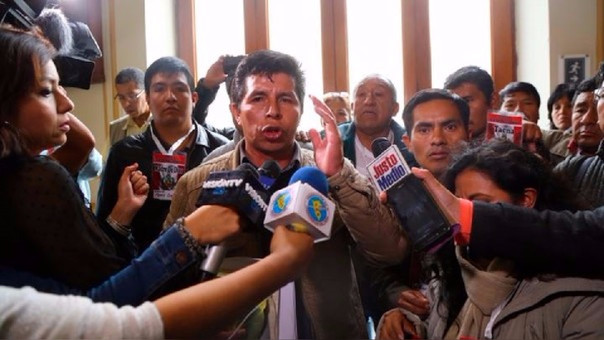 Pedro Castillo es el presidente del Comité de Lucha de Bases del Sutep y rechazó tener algún vínculo con el Movadef.
