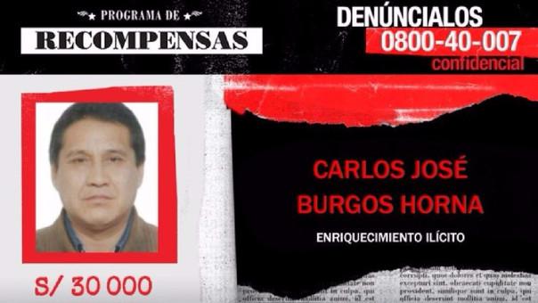 Ministerio del Interior ofrece S/30 mil por ubicación de exalcalde — Carlos Burgos