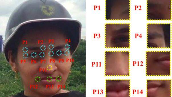 Ejemplo de detección de 14 puntos de la cara.