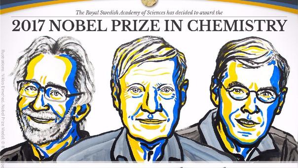 Dubochet,  Frank y Henderson, ilustrados en la cuenta oficial del Premio Nobel.
