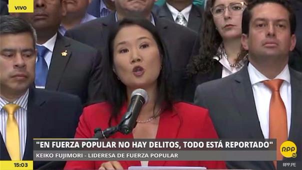 Keiko Fujimori declaró acompañada por los congresistas de su bancada.