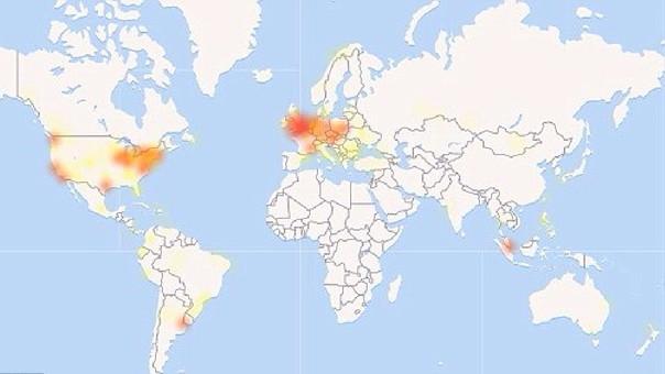 Este es el mapa de los lugares donde se han reportado problemas para ingresar a Facebook e Instagram.