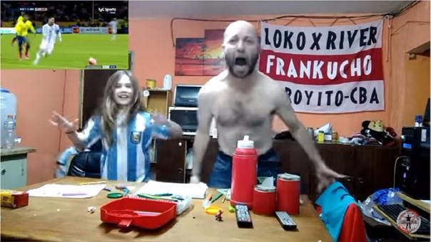 La frenética celebración de un hincha por el 'hat trick' de Messi