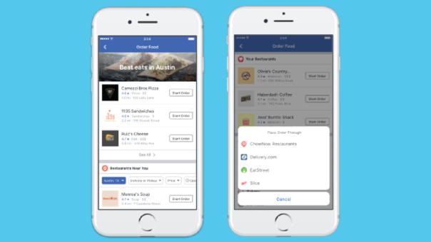 Facebook permite desde la realización de pedidos de comida