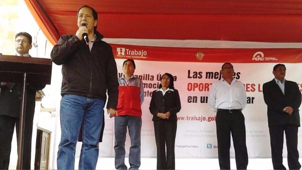 Quispe Remón durante una actividad como viceministro.