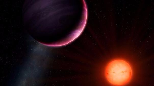 Representación artística del planeta NGTS-1b con su estrella.