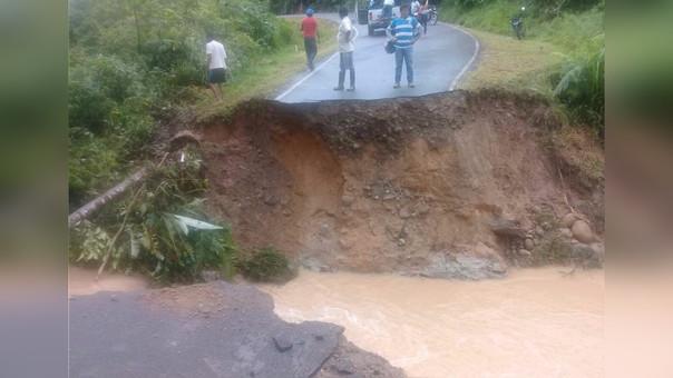 Carretera interrumpida en Bagua.