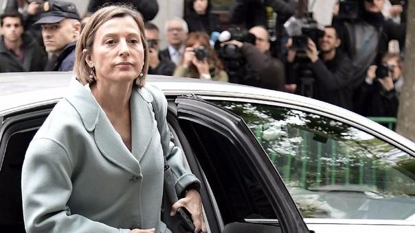 Forcadell durante uno de sus ingresos a la Corte Suprema de Madrid, el pasado 2 de noviembre. El juez ordenó prisión para ella, con una fianza de 150 mil euros, este jueves.