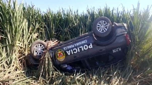 Patrullero se accidentó en Pomalca.