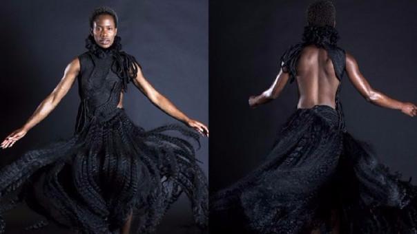 Confeccionó su propio vestido con las extensiones sintéticas