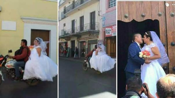 Novia llega a su boda en moto