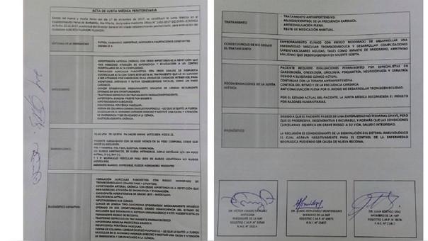 Acta de la Junta Médica Penitenciaria que recomienda otorgar el indulto humanitario al expresidente Alberto Fujimori.