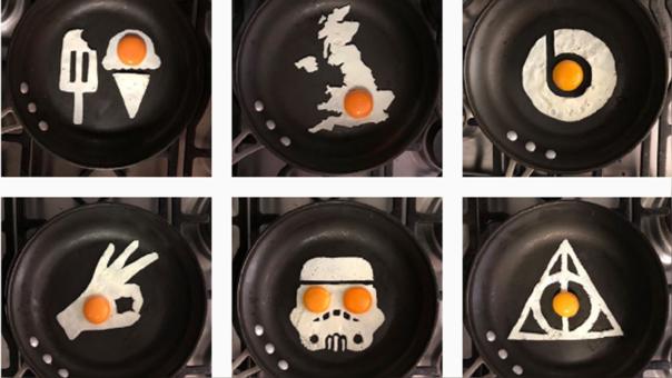 Artista crea obras de arte con huevos fritos.