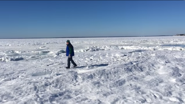 El frío ártico congeló parte del océano Atlántico