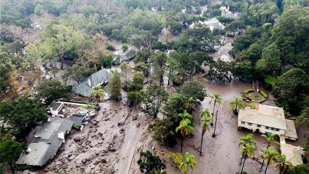 Vista aérea de la zona afectada por los deslizamientos.