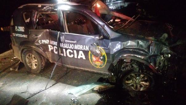 Así quedó el patrullero de la Policía Nacional tras el accidente de tránsito.