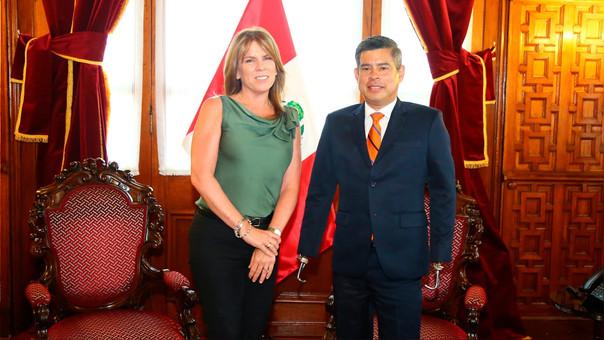 Luis Galarreta se reunió con la ministra de Relaciones Exteriores, Cayetana Aljovín.