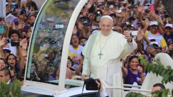 El papa Francisco durante su visita a Lima.