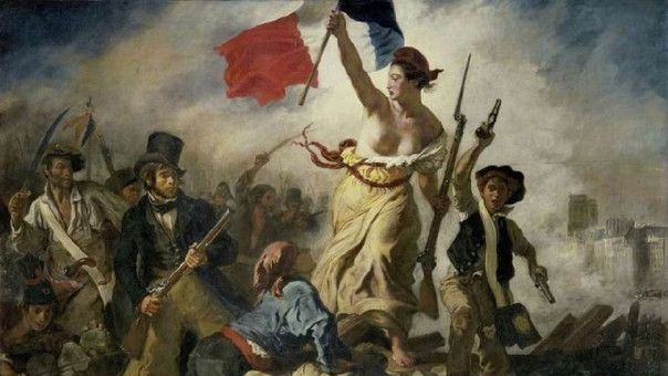 La imagen es conocida por el artista Eugène Delacroix, que retrató la euforia de la Revolución Francesa.