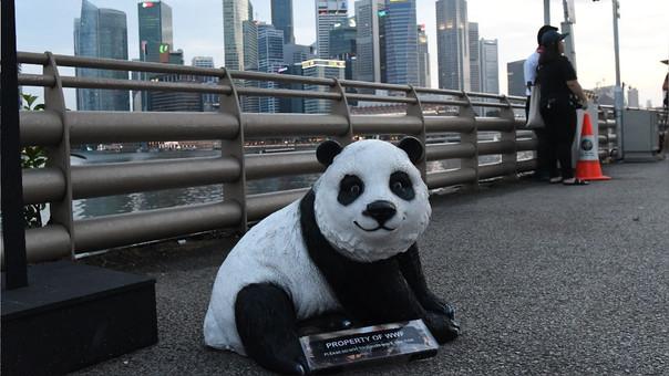 La figura de un oso panda, mascota de la organización ambientalista WWF, en Singapur antes de que este país participe en 'La Hora del Planeta'.
