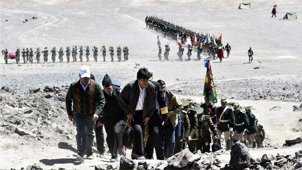 Evo Morales durante la recreación de la supuesta Batalla de Canchas Blancas.