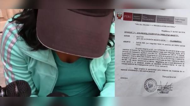 Clementina Muñoz llegó hasta la División Legista de Cajamarca mostrando sus prendas de vestir ensangrentadas