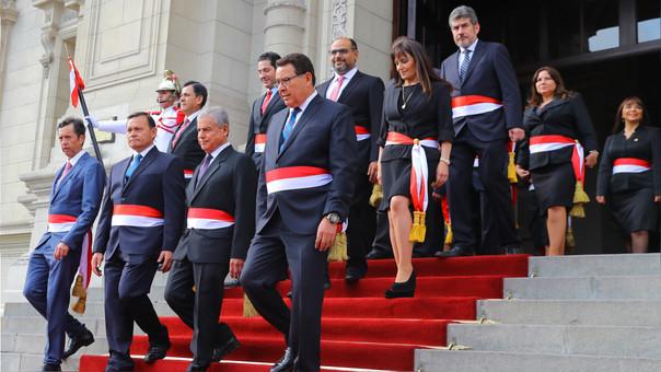 El nuevo gabinete juró esta tarde en el patio de honor de Palacio de Gobierno.