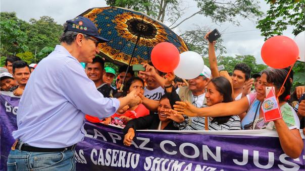 Vizcarra durante un evento en la región San Martín.