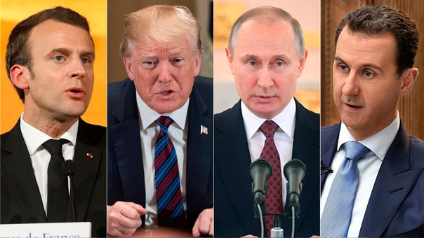 Macron, Trump, Putin y Al Asad, presidente de Francia, EE.UU., Rusia y Siria, respectivamente.