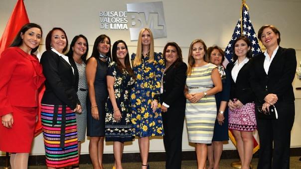 Ivanka tras su reunión en la Bolsa de Valores de Lima con mujeres empresarias.