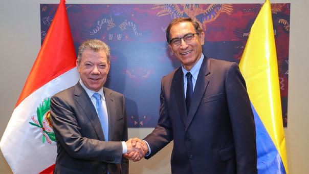 Presidentes Juan Manuel Santos y Martín Vizcarra sostuvieron reunión bilateral, en el marco de la VIII Cumbre de las Américas.