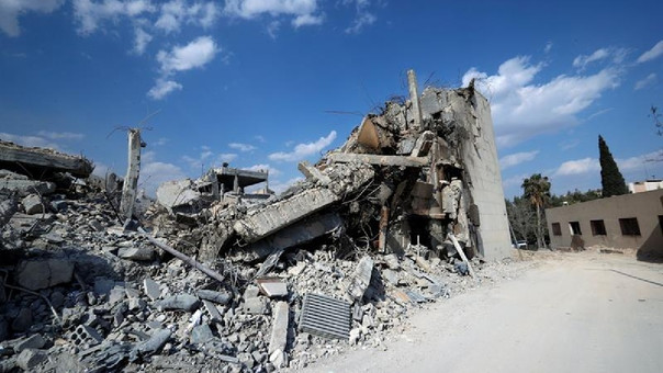 El edificio del Centro de Investigación Científica fue impactada por misiles de Estados Unidos, Gran Bretaña y Francia el 14 de abril en la ciudad de Damasco, Siria.