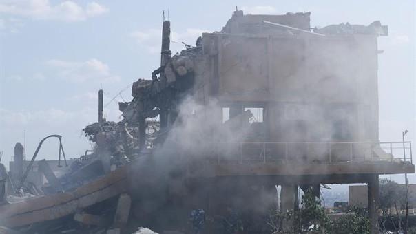 El Centro de Investigación Científica fue impactado por misiles de Estados Unidos, Gran Bretaña y Francia en el barrio de Barzeh, Damasco.