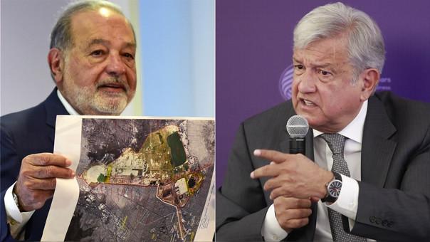 Carlos Slim y el plano del proyecto de un aeropuerto (izquierda) y el candidato López Obrador.