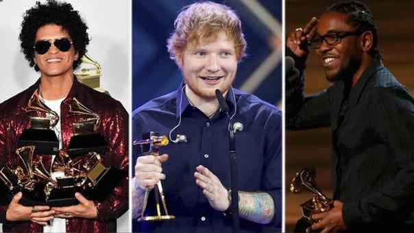 Kendrick Lamar, Ed Sheeran y Bruno Mars son los grandes favoritos de los premios Billboard.