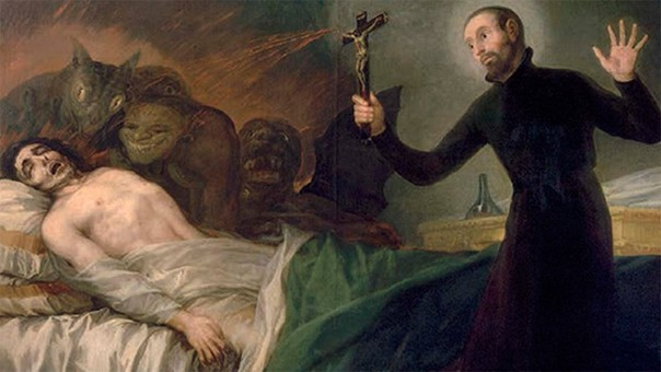 San Francisco de Borja practicando un exorcismo. Pintura de Francisco Goya.